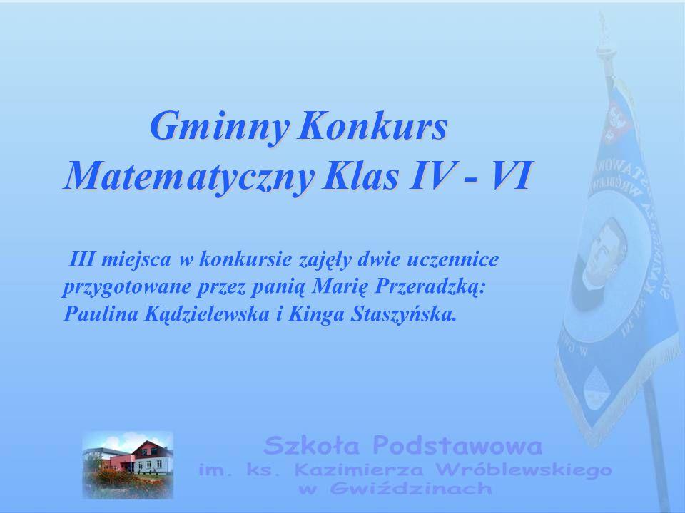 Gminny Konkurs Matematyczny Klas IV - VI