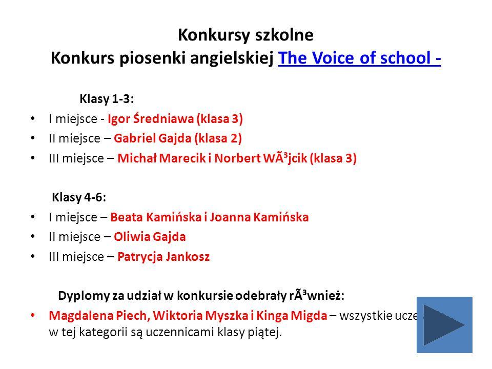 Konkursy szkolne Konkurs piosenki angielskiej The Voice of school -