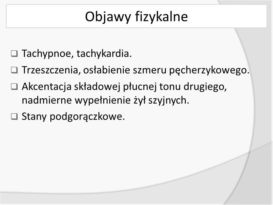 Objawy fizykalne Tachypnoe, tachykardia.