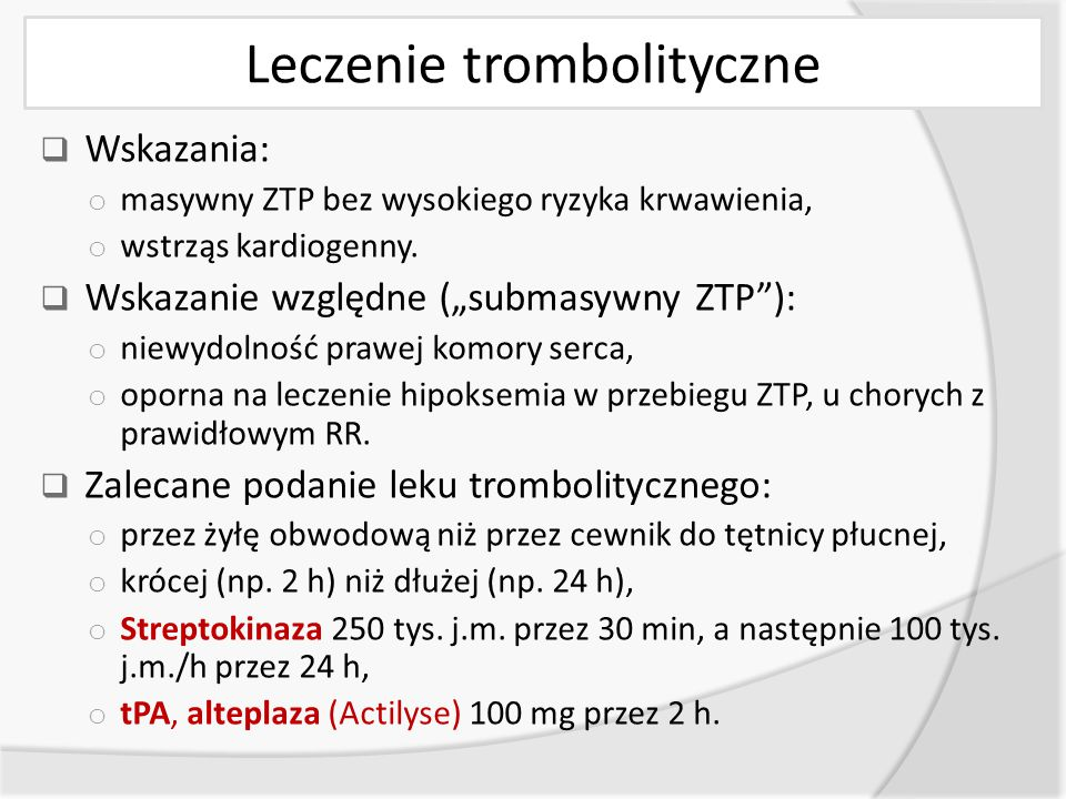 Leczenie trombolityczne