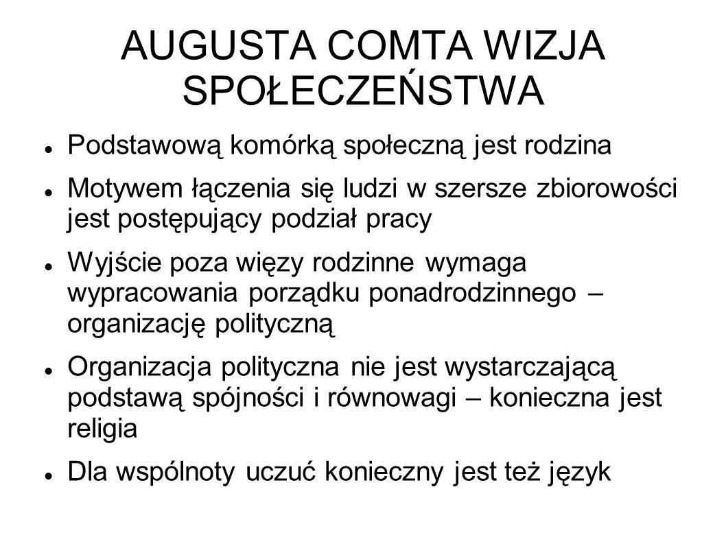 AUGUSTA COMTA WIZJA SPOŁECZEŃSTWA