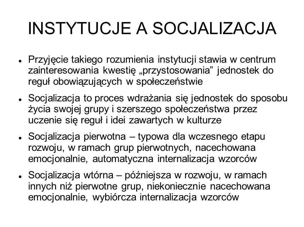 INSTYTUCJE A SOCJALIZACJA