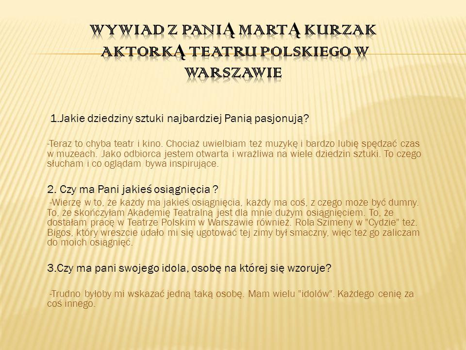 Wywiad z Panią Martą Kurzak Aktorką teatru polskiego w warszawie