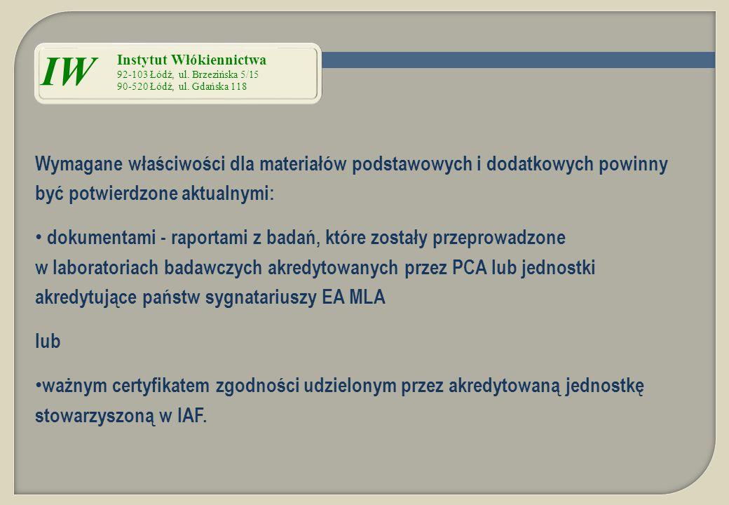 IW Instytut Włókiennictwa 92-103 Łódź, ul. Brzezińska 5/15. 90-520 Łódź, ul. Gdańska 118.