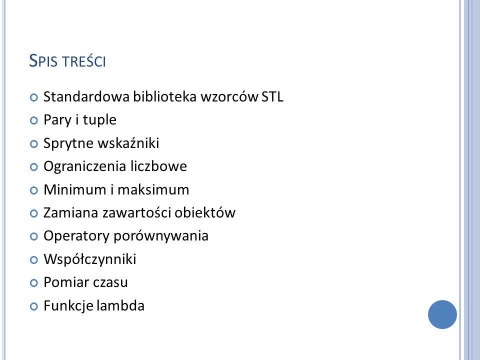Spis treści Standardowa biblioteka wzorców STL Pary i tuple