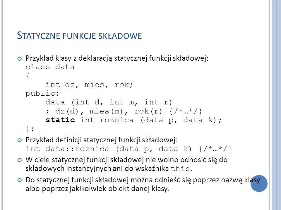 Statyczne funkcje składowe
