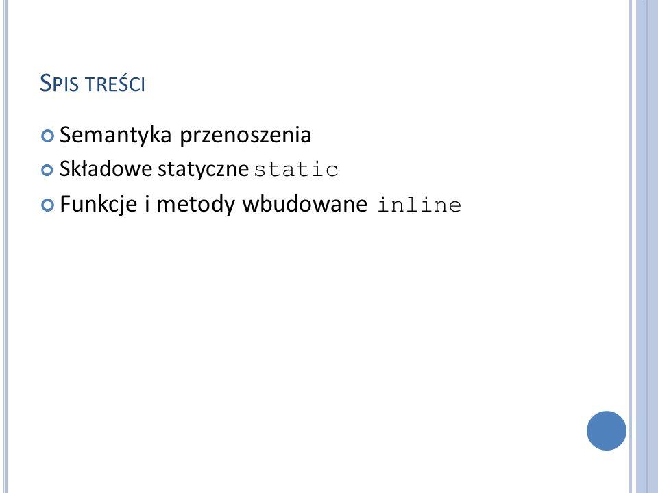 Spis treści Semantyka przenoszenia Funkcje i metody wbudowane inline