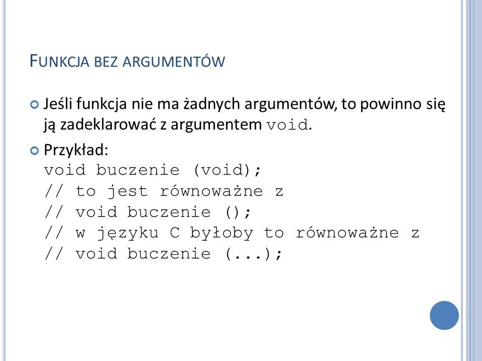 Funkcja bez argumentów