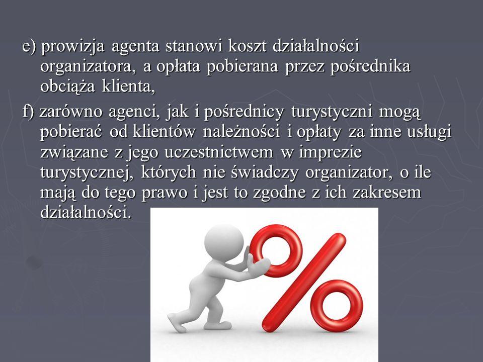 e) prowizja agenta stanowi koszt działalności organizatora, a opłata pobierana przez pośrednika obciąża klienta,