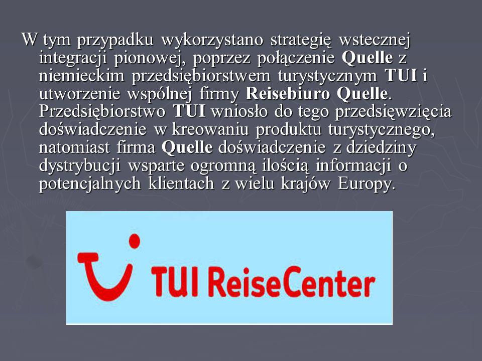 W tym przypadku wykorzystano strategię wstecznej integracji pionowej, poprzez połączenie Quelle z niemieckim przedsiębiorstwem turystycznym TUI i utworzenie wspólnej firmy Reisebiuro Quelle.