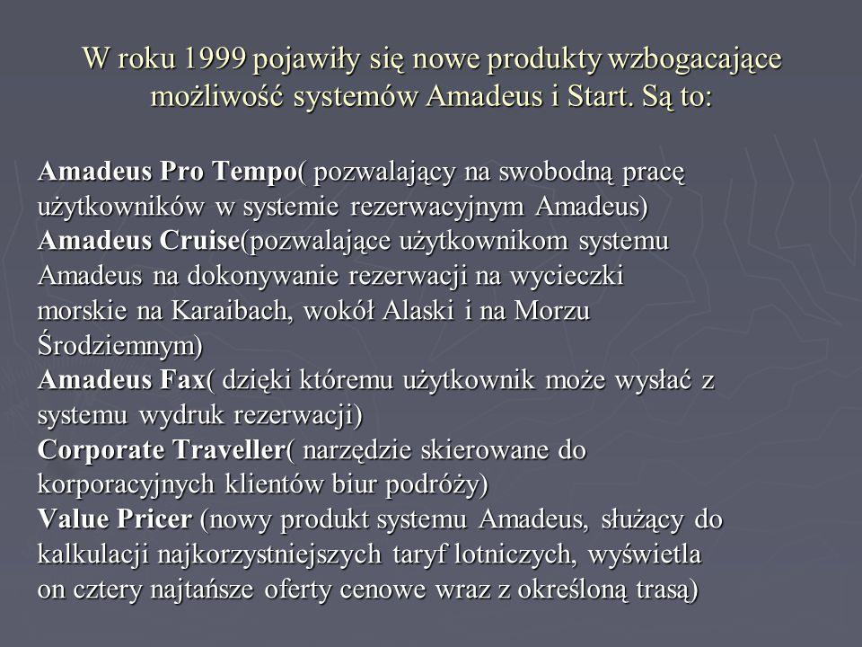 W roku 1999 pojawiły się nowe produkty wzbogacające możliwość systemów Amadeus i Start. Są to: