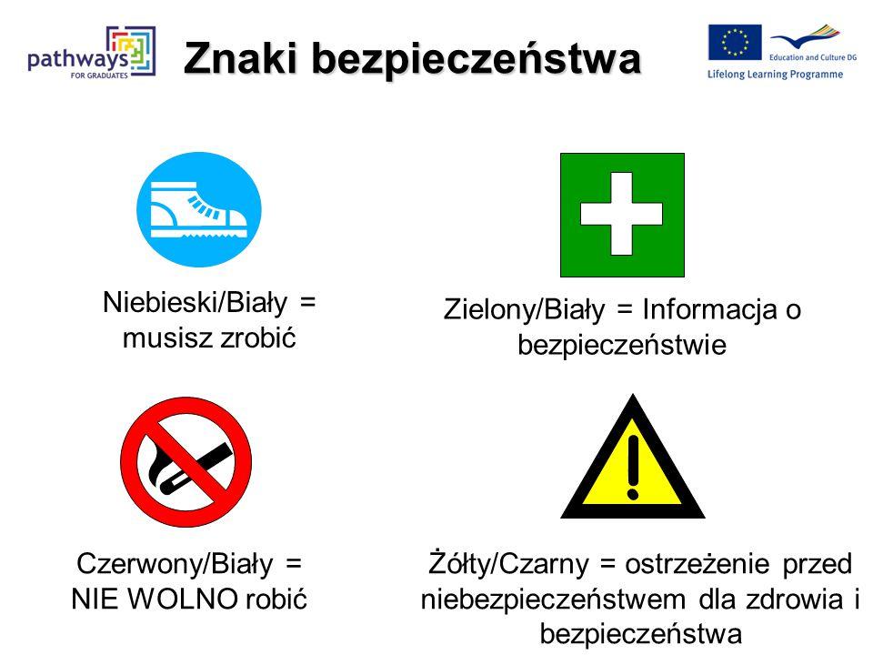 ! Znaki bezpieczeństwa Niebieski/Biały = musisz zrobić