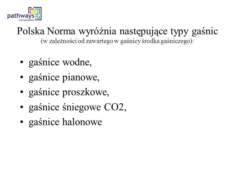 Polska Norma wyróżnia następujące typy gaśnic (w zależności od zawartego w gaśnicy środka gaśniczego):