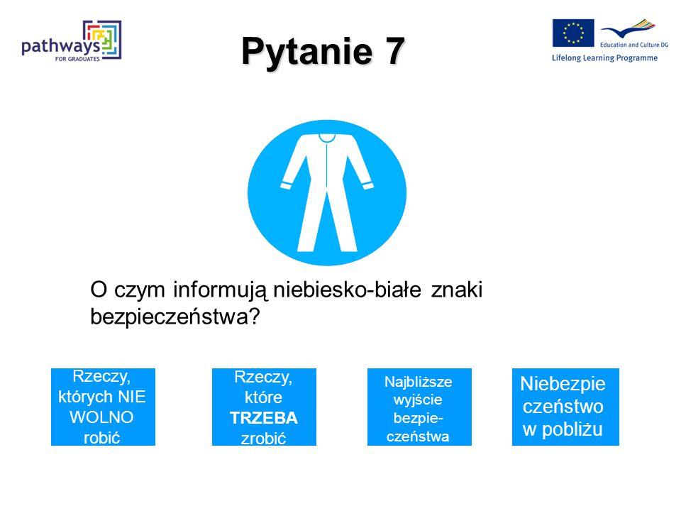 Pytanie 7 O czym informują niebiesko-białe znaki bezpieczeństwa