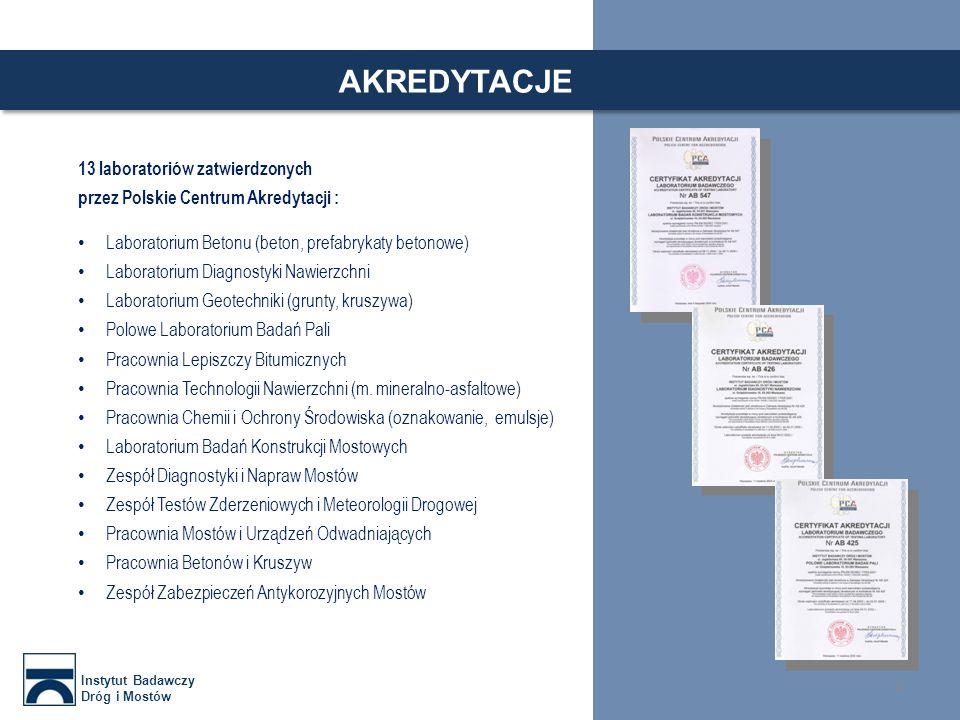 AKREDYTACJE 13 laboratoriów zatwierdzonych