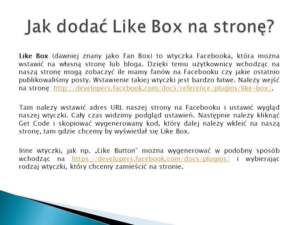 Jak dodać Like Box na stronę