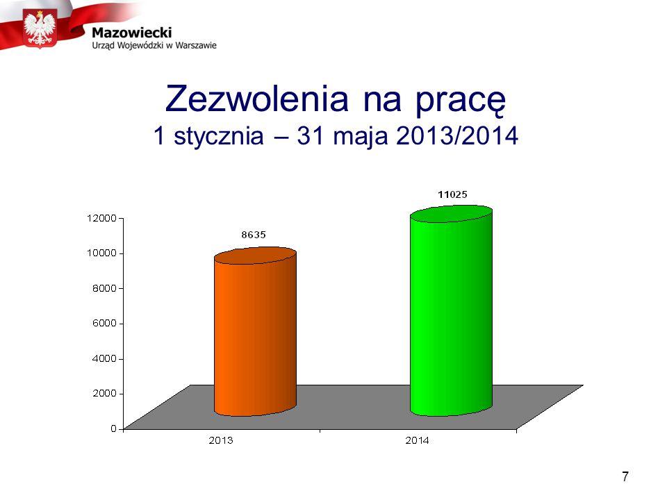 Zezwolenia na pracę 1 stycznia – 31 maja 2013/2014 7