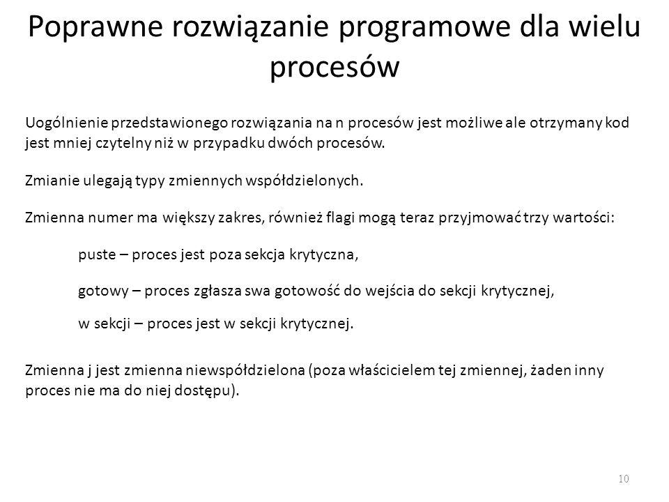 Poprawne rozwiązanie programowe dla wielu procesów