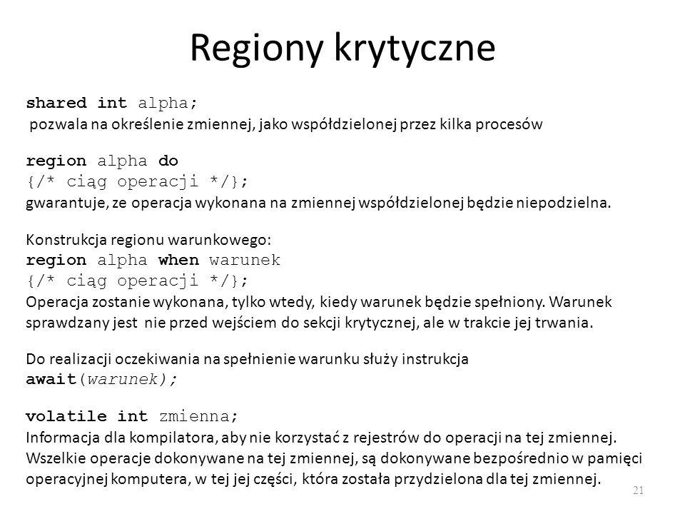 Regiony krytyczne shared int alpha;