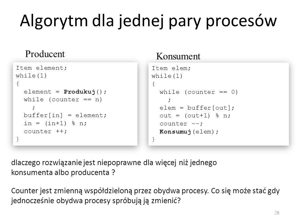 Algorytm dla jednej pary procesów