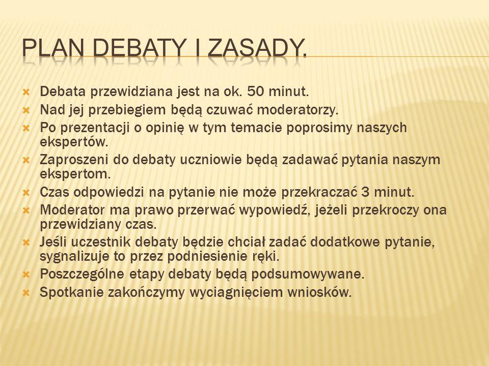 Plan debaty i zasady. Debata przewidziana jest na ok. 50 minut.