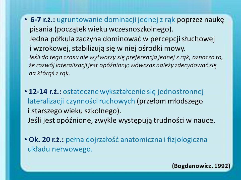 6-7 r.ż.: ugruntowanie dominacji jednej z rąk poprzez naukę