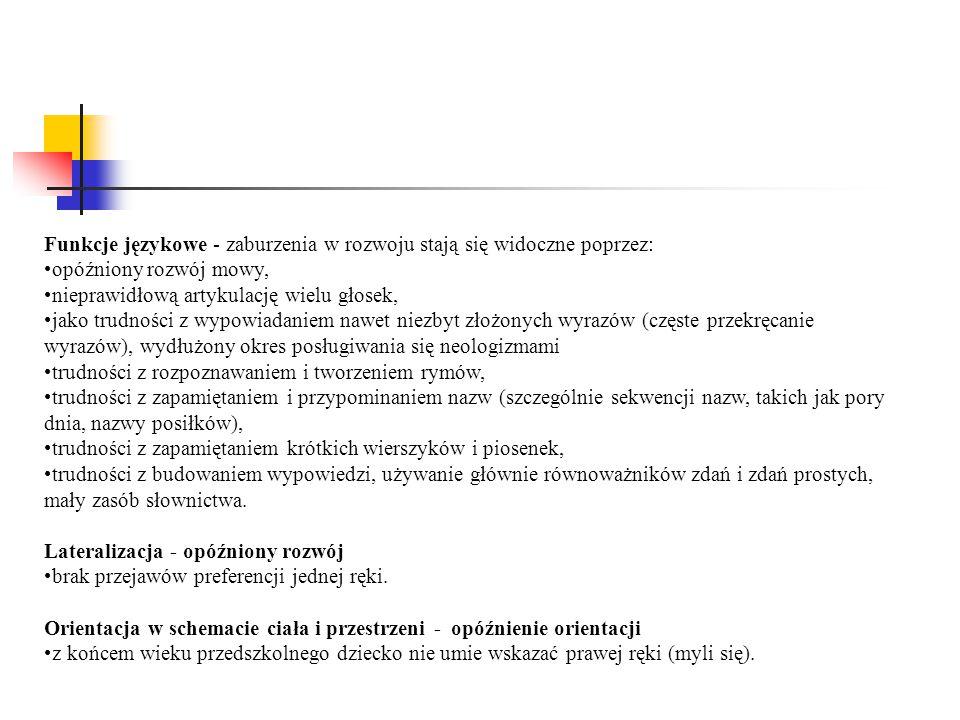 Funkcje językowe - zaburzenia w rozwoju stają się widoczne poprzez: