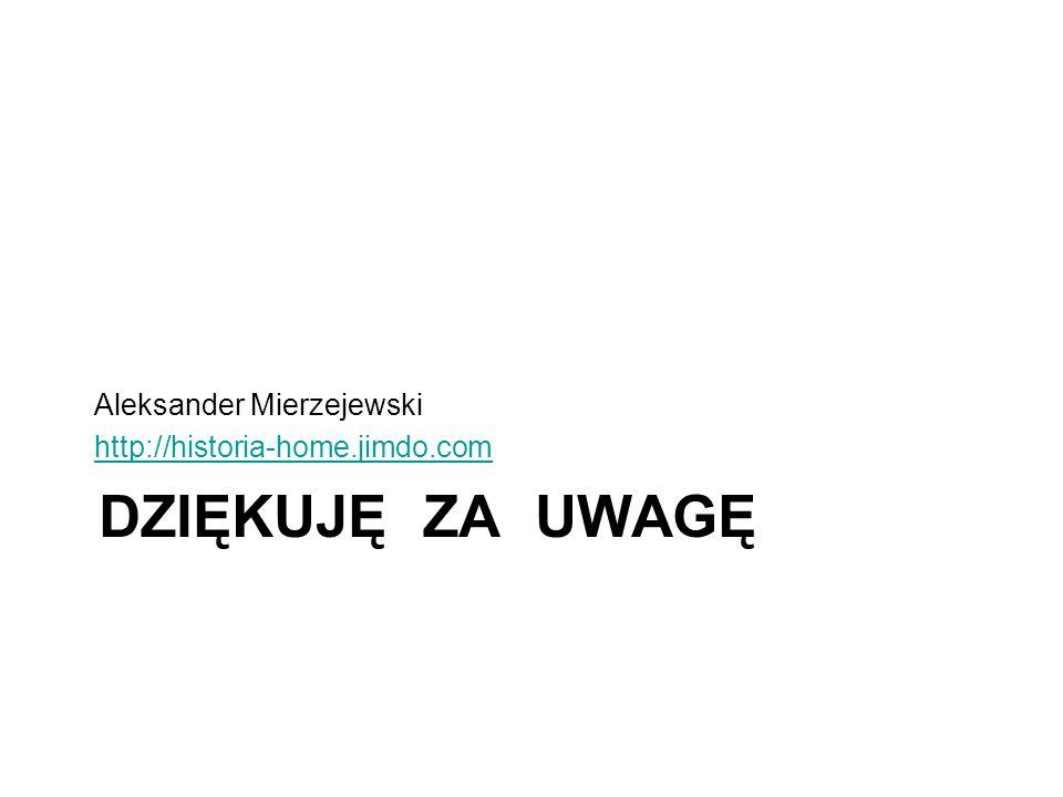 Dziękuję za uwagę Aleksander Mierzejewski