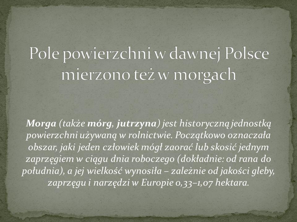 Pole powierzchni w dawnej Polsce mierzono też w morgach