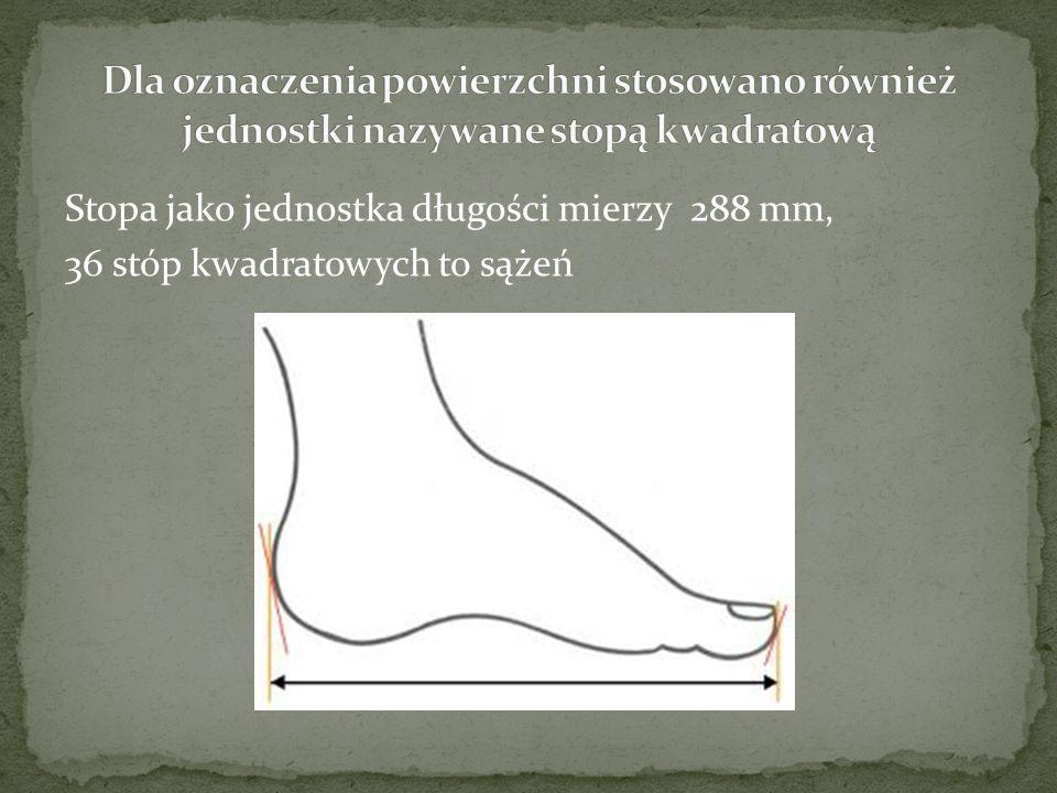 Dla oznaczenia powierzchni stosowano również jednostki nazywane stopą kwadratową