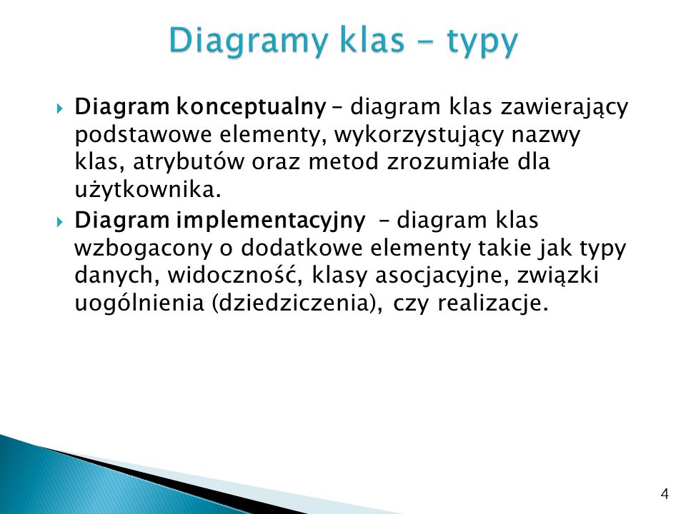 Diagramy klas - typy