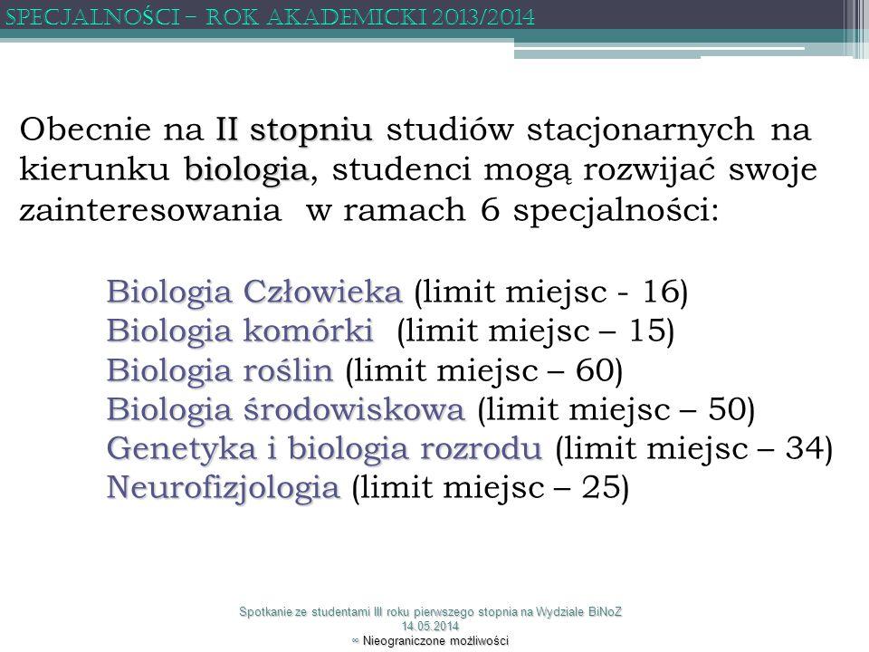 SPECJALNOŚCI – ROK AKADEMICKI 2013/2014
