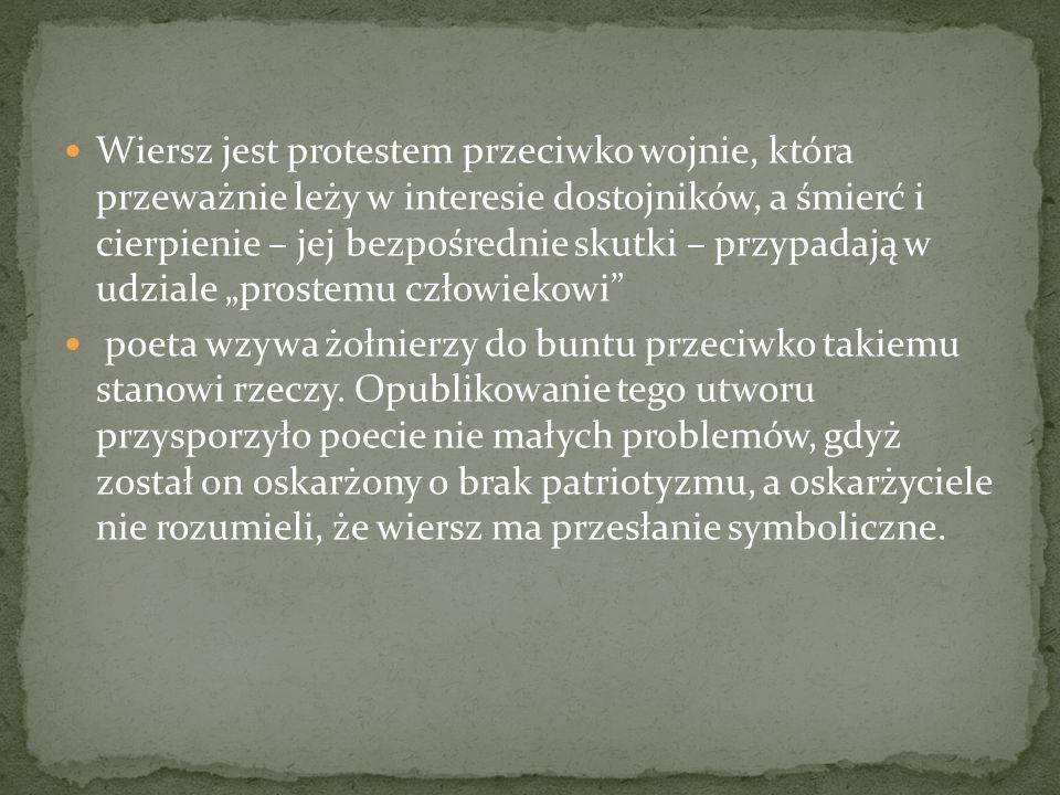 """Wiersz jest protestem przeciwko wojnie, która przeważnie leży w interesie dostojników, a śmierć i cierpienie – jej bezpośrednie skutki – przypadają w udziale """"prostemu człowiekowi"""