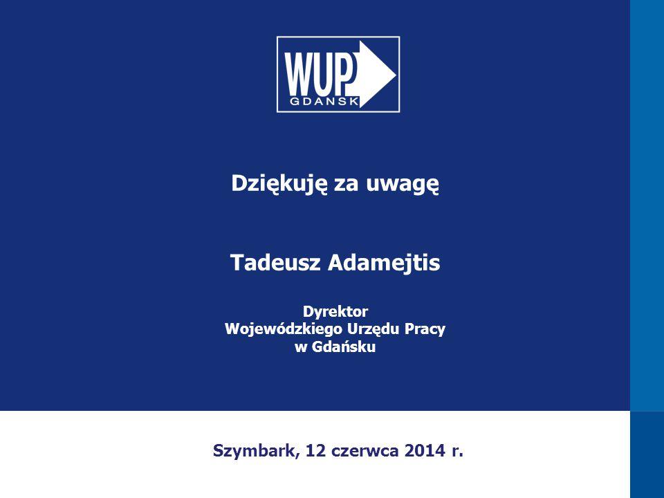 Dziękuję za uwagę Tadeusz Adamejtis Dyrektor Wojewódzkiego Urzędu Pracy w Gdańsku