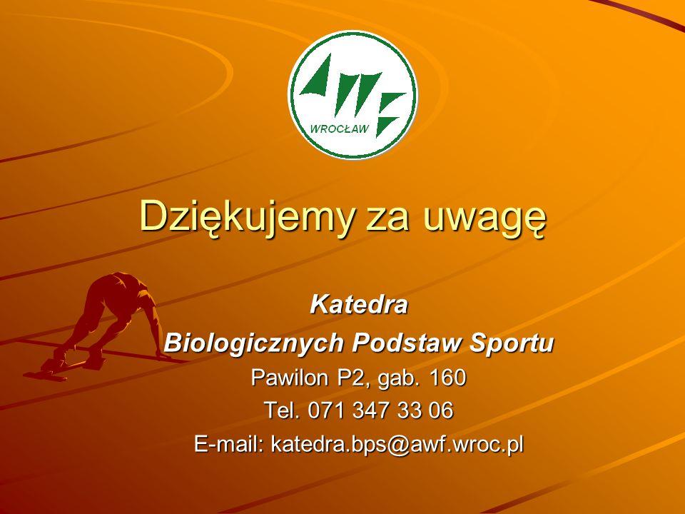 Dziękujemy za uwagę Katedra Biologicznych Podstaw Sportu