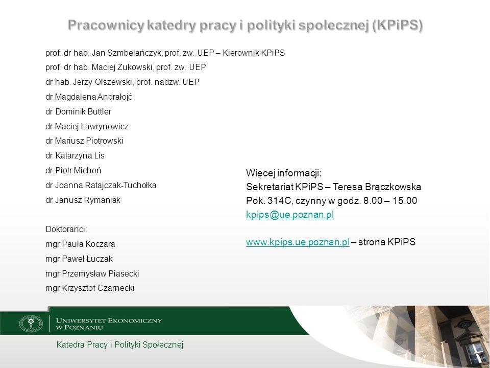 Pracownicy katedry pracy i polityki społecznej (KPiPS)