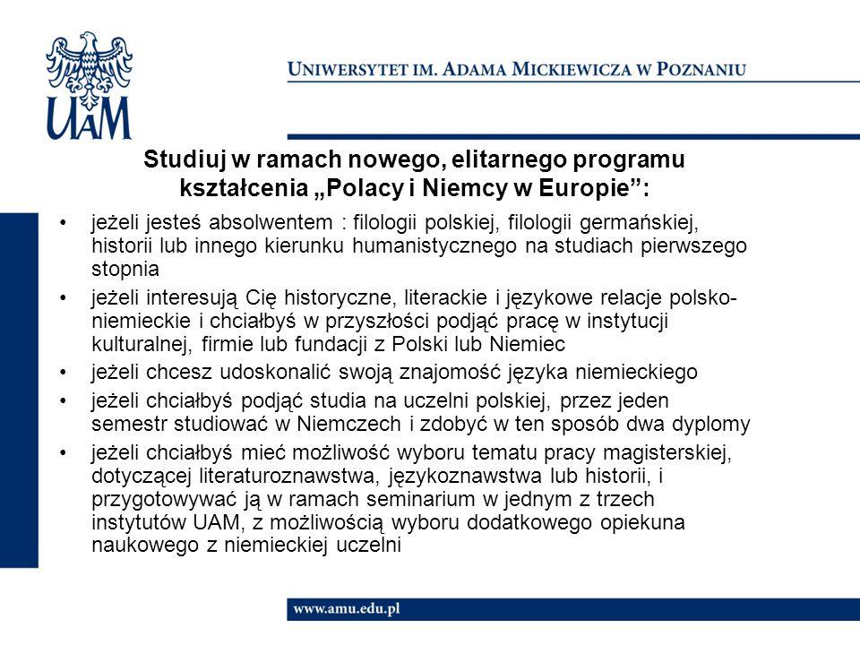 """Studiuj w ramach nowego, elitarnego programu kształcenia """"Polacy i Niemcy w Europie :"""