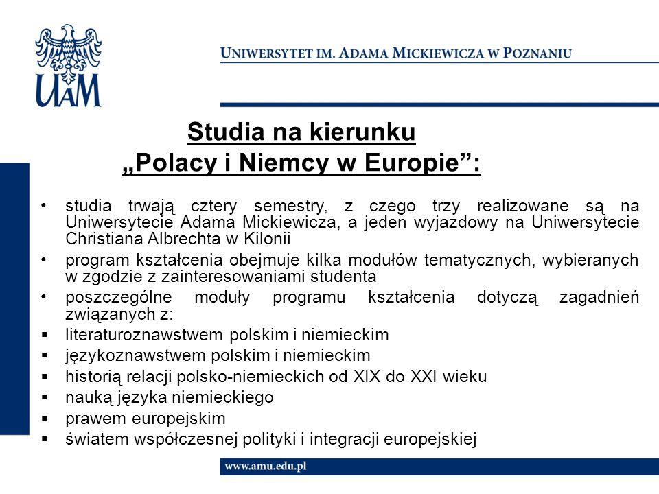 """Studia na kierunku """"Polacy i Niemcy w Europie :"""