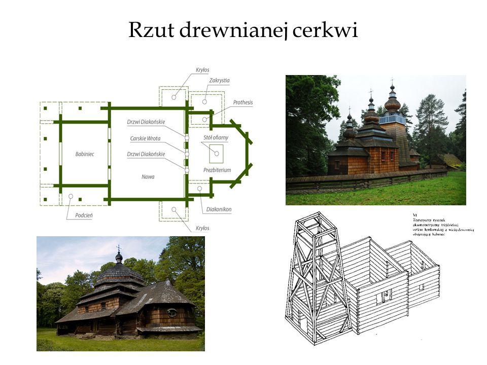 Rzut drewnianej cerkwi