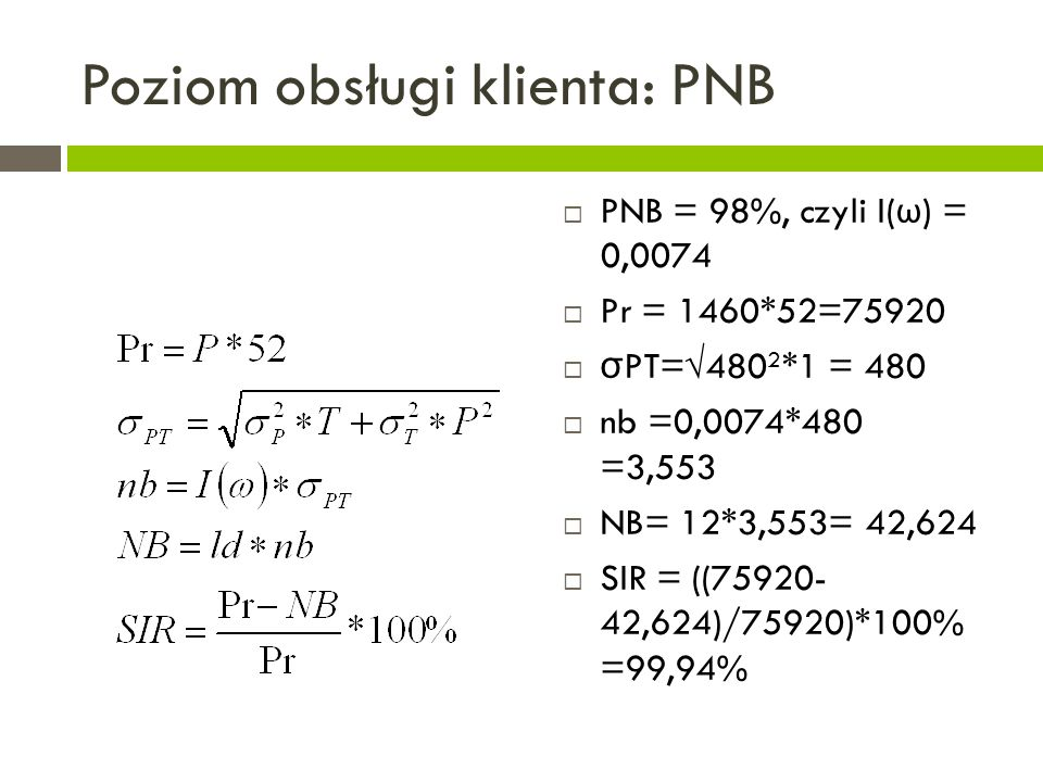 Poziom obsługi klienta: PNB