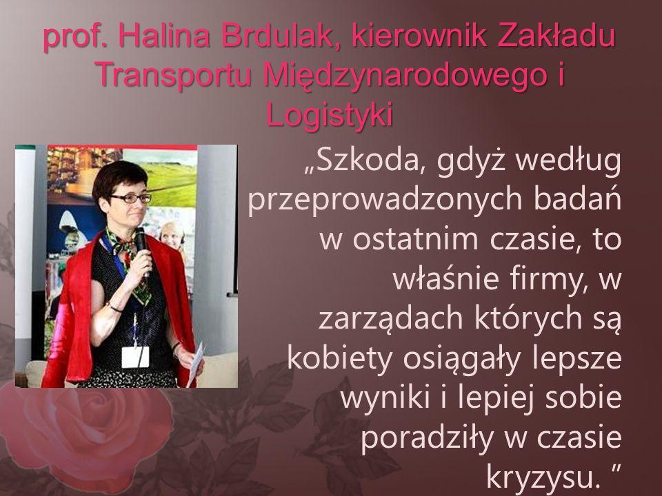 prof. Halina Brdulak, kierownik Zakładu Transportu Międzynarodowego i Logistyki
