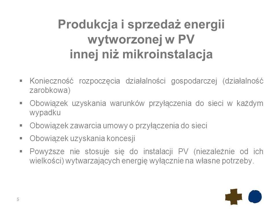 Produkcja i sprzedaż energii wytworzonej w PV innej niż mikroinstalacja