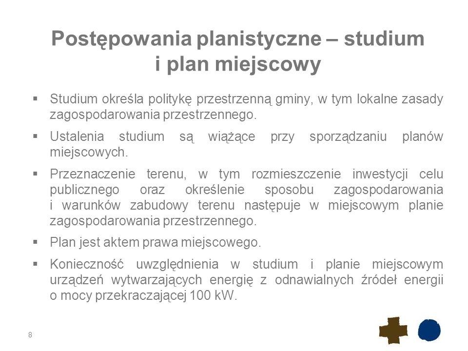 Postępowania planistyczne – studium i plan miejscowy