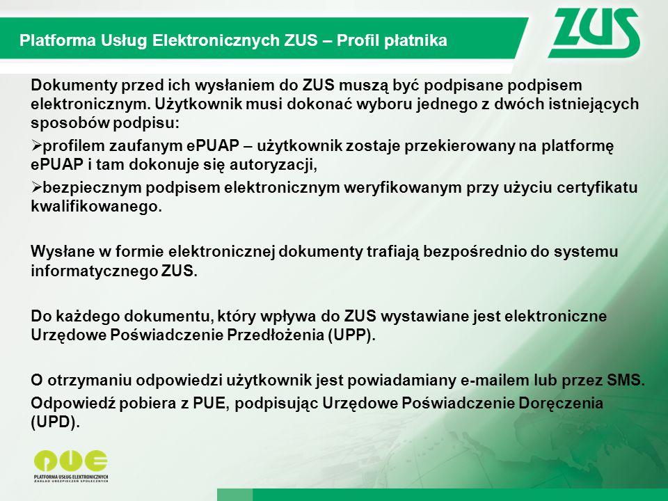 Platforma Usług Elektronicznych ZUS – Profil płatnika