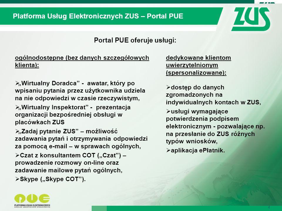 Portal PUE oferuje usługi: