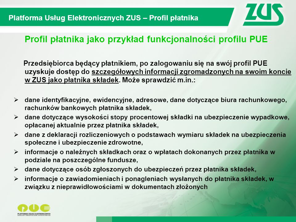 Profil płatnika jako przykład funkcjonalności profilu PUE