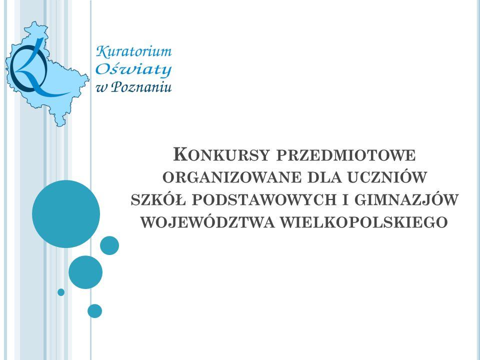 Konkursy przedmiotowe organizowane dla uczniów szkół podstawowych i gimnazjów województwa wielkopolskiego