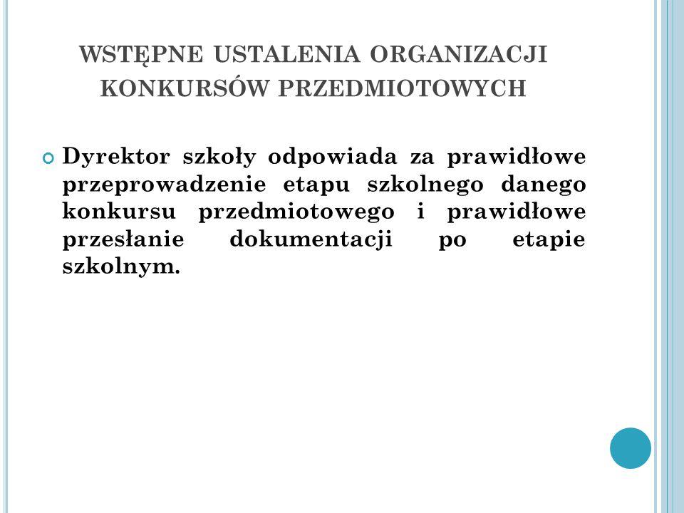 wstępne ustalenia organizacji konkursów przedmiotowych