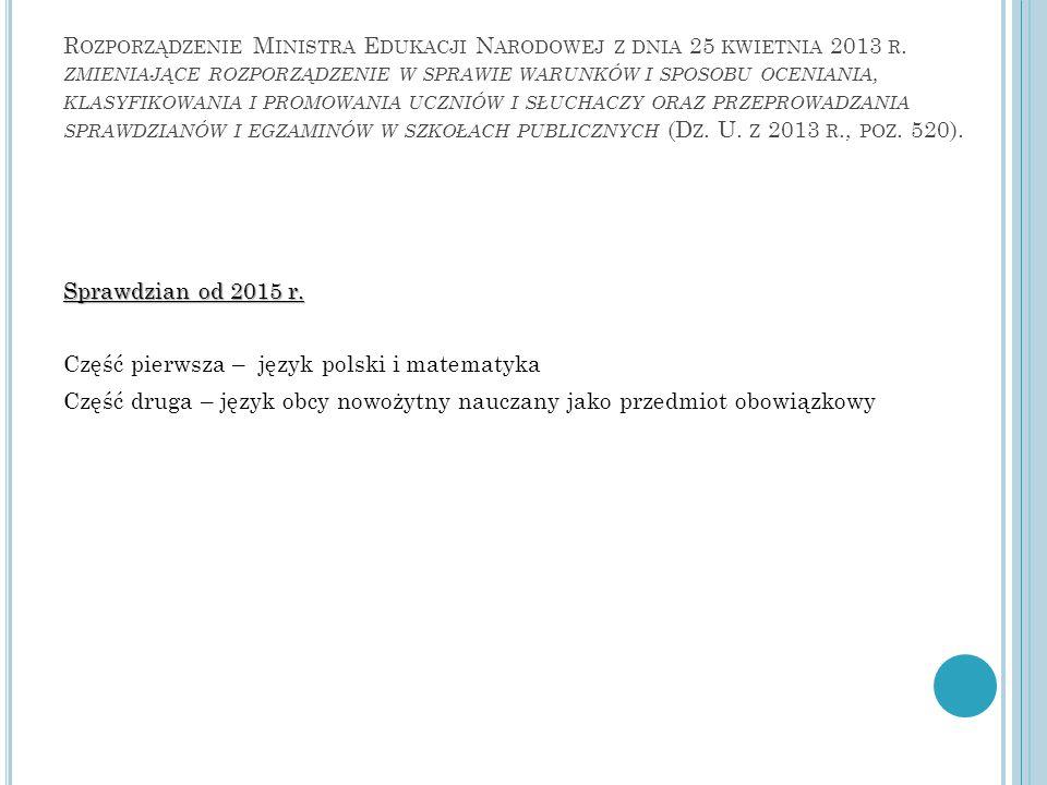 Rozporządzenie Ministra Edukacji Narodowej z dnia 25 kwietnia 2013 r