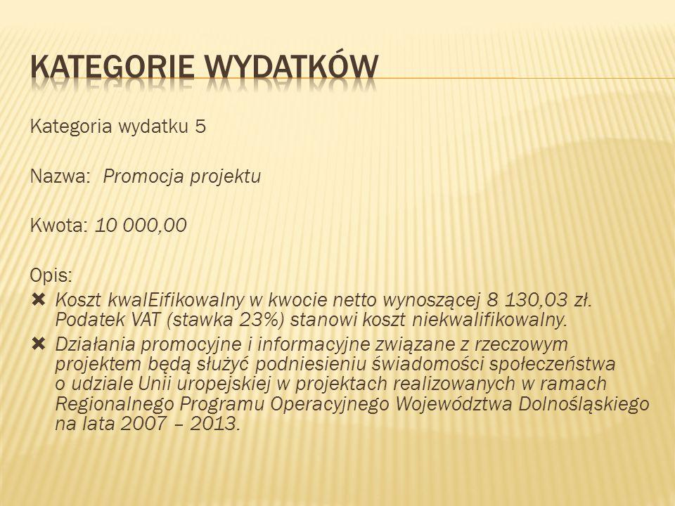 KATEGORIE WYDATKÓW Kategoria wydatku 5 Nazwa: Promocja projektu